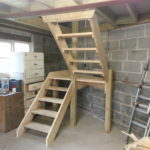 Garage stairs to get to roof storage for eldely couple
