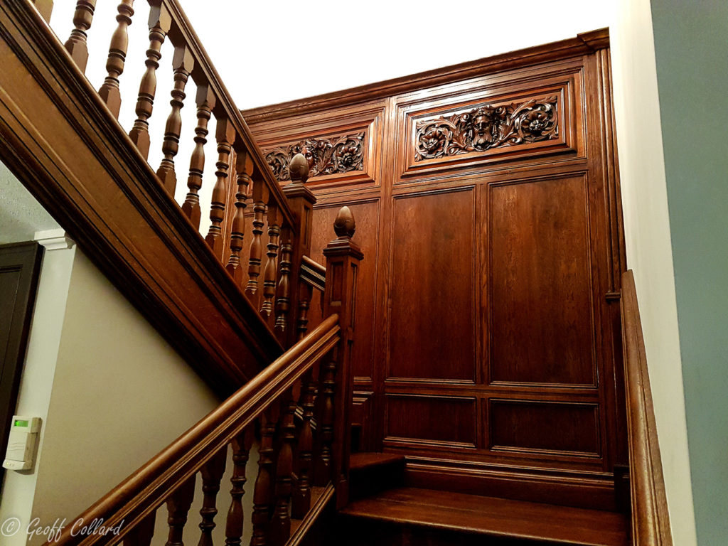 oak paneling on stairs