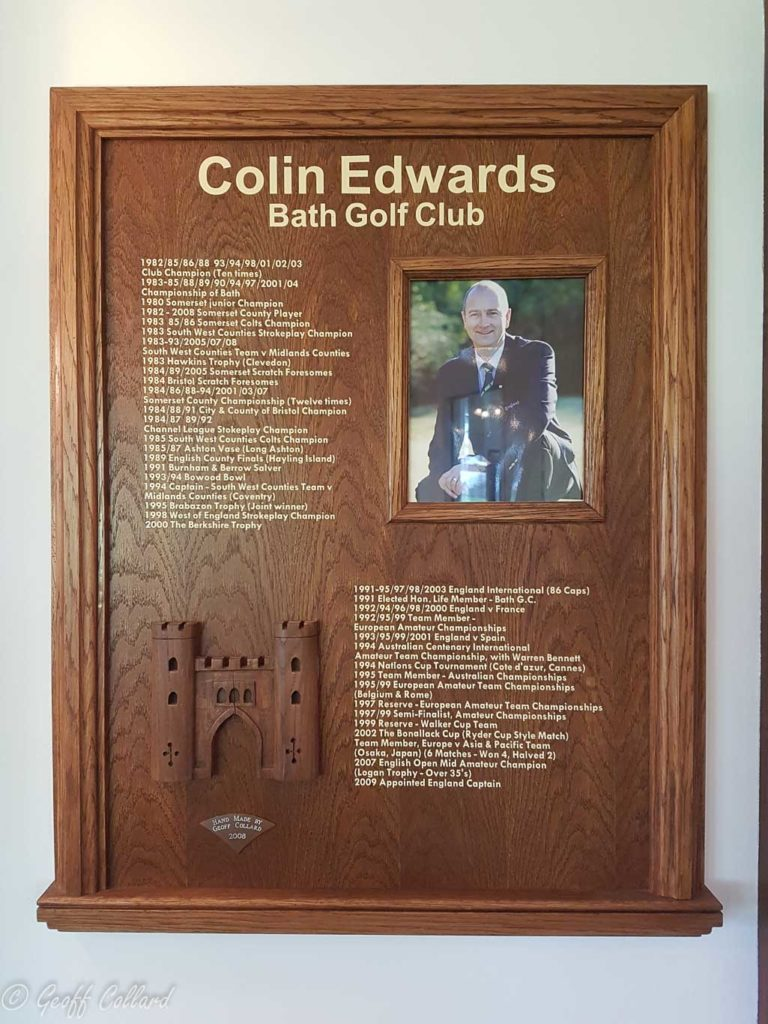 honour's board depicting the achievements of colin edwards from bath golf club