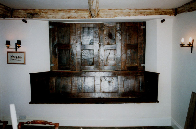 500 year old oak from an old asylum was used to make these shutters for a 500 year old farm house shutters closed