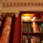 bookcase at great pulteney street bath showing new column with plaster capital