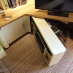 Media unit with pull out shelf