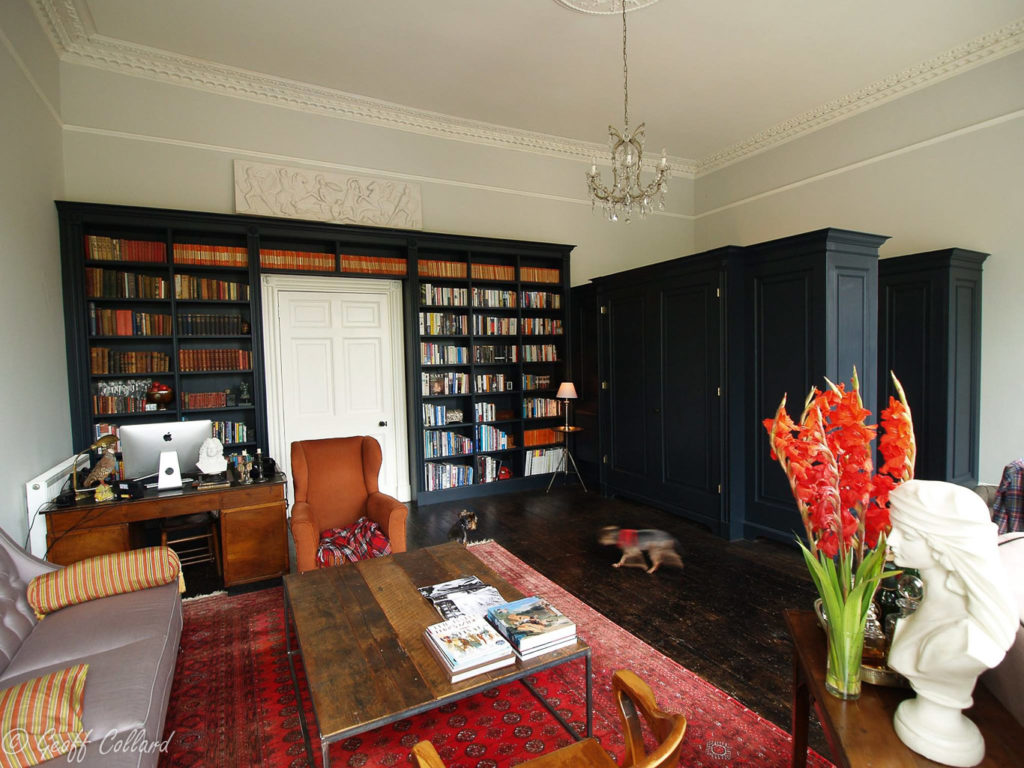 Black painted tulipwood and mdf bookcase at Sydney Buildings
