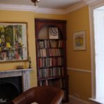 bookcase mahogany turned columns and madronna burr panels
