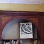 bookcase mahogany turned columns and madronna burr panels 4