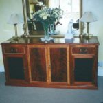mahogany curl with inlay tv & hi-fi cabinet