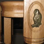 carving of owl set in newel post