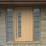 door in contemporary style and frame with side lights
