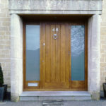 door in oak and side lights with satin glass