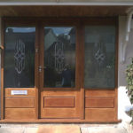 door in sapele with raised and fielded panels