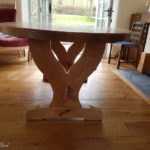 elliptical oak table end view