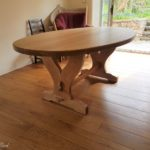 elliptical solid oak table