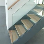 My brother made the stainless steel stairs and I made the treads and handrail
