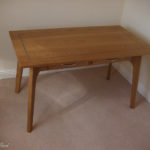 ladies desk in solid oak and blue inlay