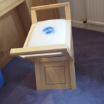 maple dressing table stool with inlay