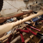 new spindle being turned to match originals