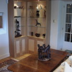 oak and birdseye maple display units