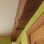 oak beam cover hiding rsj close up