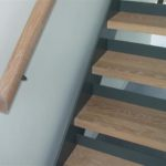 Stainless Steel and glass stairs with oak treads and handrail