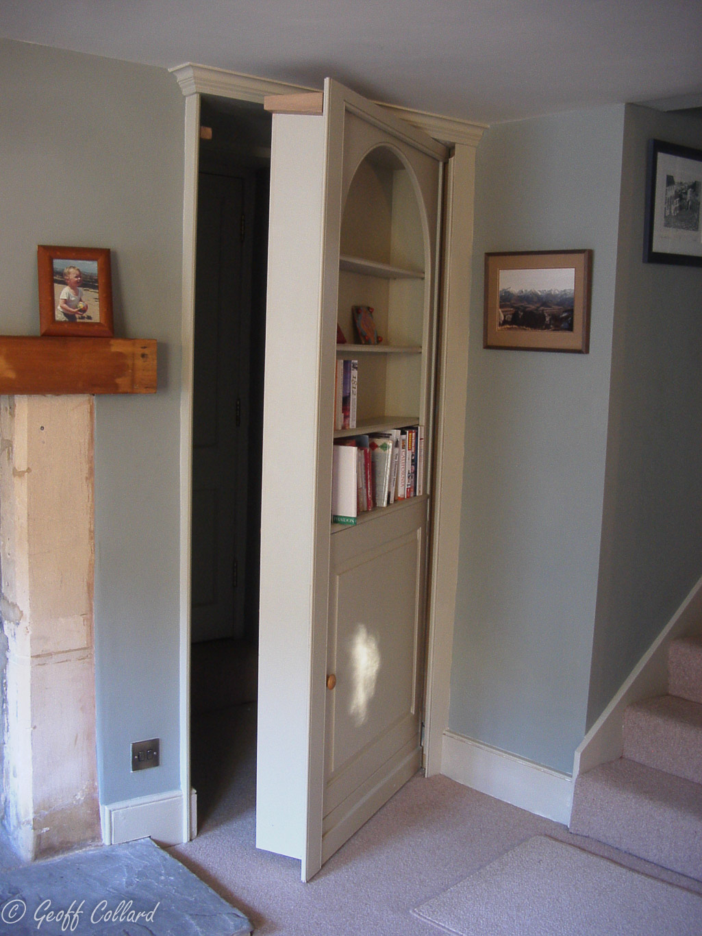 secret bookcase door in bathampton open