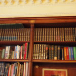 secret bookcase doors showing marquetry keystone