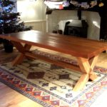 table in solid oak and cross legged design 2