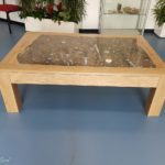 table with geology fossil slab