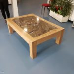table with geology fossil slab coffee table