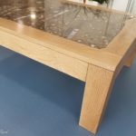 table with geology fossil slab in oak