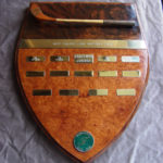 trophy cocabola and madrona burr with golf club carving