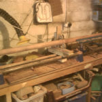 turning of mahogany post for bookcase