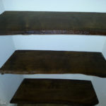 waney edged oak shelves