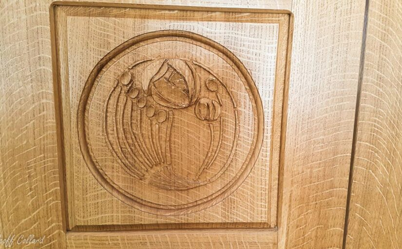 Charles Rennie Mackintosh rose carved in quater sawn oak