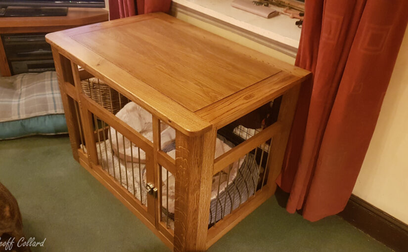 Luxury solid oak dog cage and oak dog bowl stand