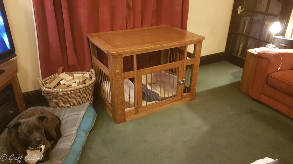 Solid oak dog cage with hexagonal brass bars - wider view