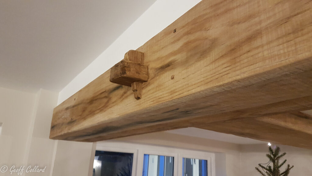 oak beam cladding for rsj steelbeams - pegged tenon