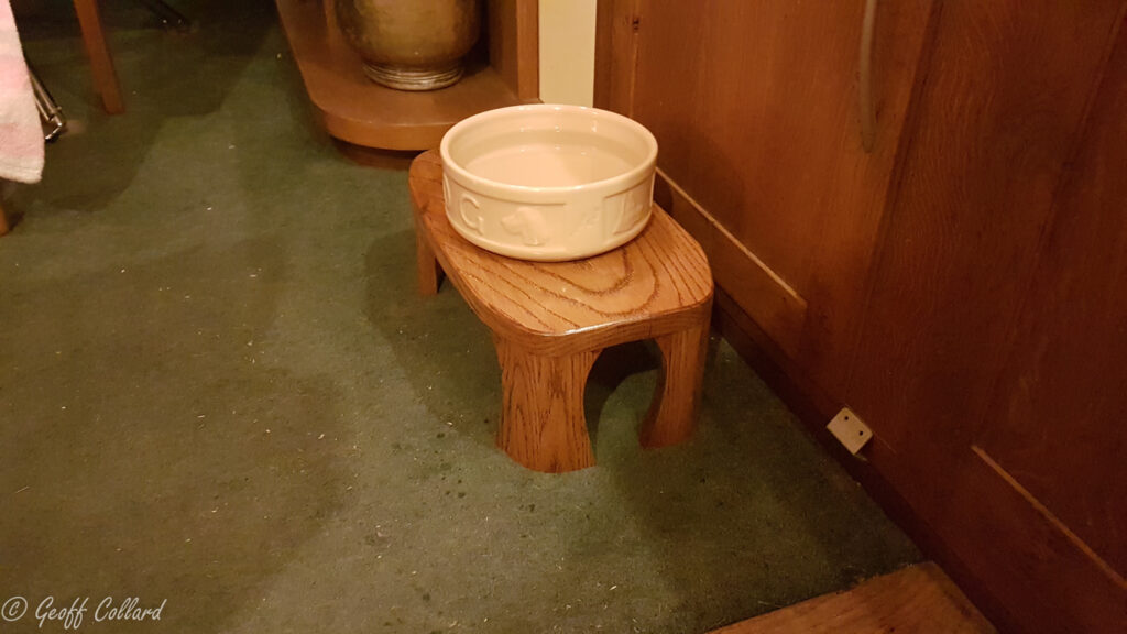solid oak dog bowl table