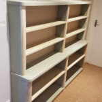 tulipwood and mdf curved end bookcase