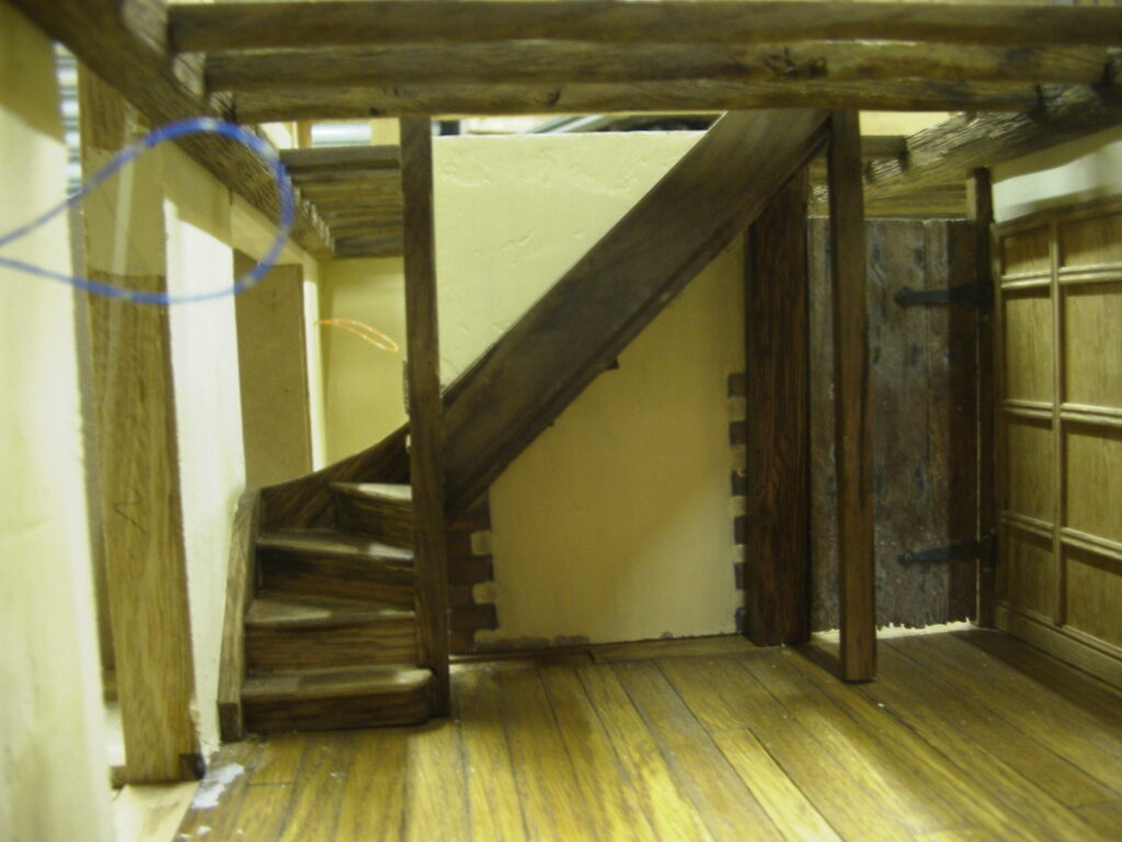 Solid oak scale model of staircase