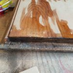 Applying wood hardener to the cracks and end grain, I poured hardener down the cracks